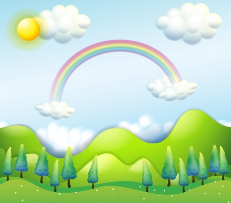 yellow hills: Illustration of a colorful sky above the green hills