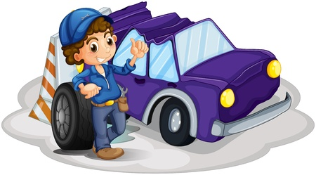 Illustratio of a boy standing in front of a wheel beside the damaged car on a white background  Vector