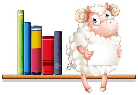 �tag�re bois: Illustration d'un mouton tenue d'une signalisation vide assis au-dessus de l'�tag�re en bois avec des livres sur un fond blanc