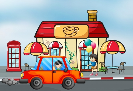 payphone: Illustration of an orange car in front of the coffee shop