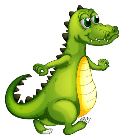 Illustration of a walking crocodile on a white background Vector