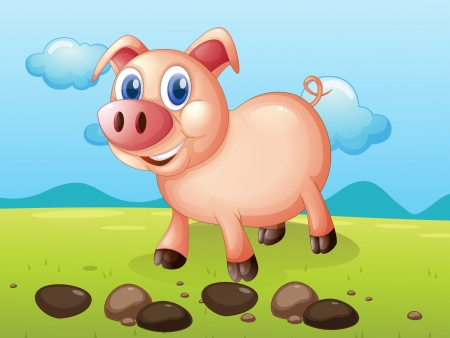 pig nose: Illustration of a smiling pig near the stones Illustration