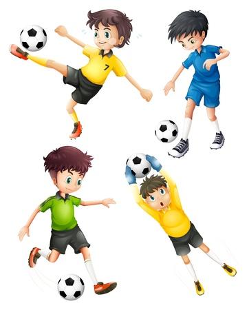 예행 연습: 흰색 배경에있는 4 개의 축구 선수의 그림