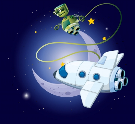 controlled: illustration of an airship and a robot in the outerspace