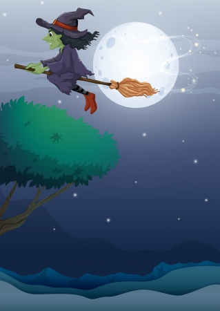 woman floating: Illustration of a witch riding a broom along the fullmoon  Illustration