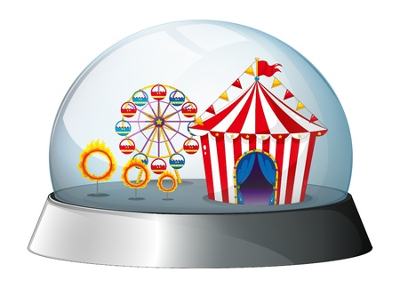 flaglets: Illustration of a carnival inside a dome on a white background