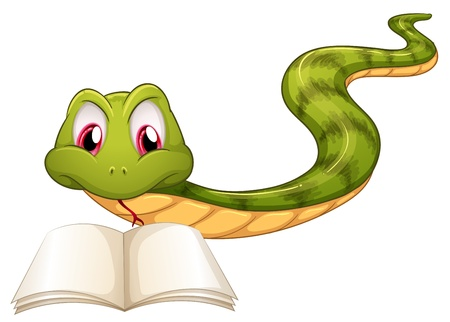 Illustration of a snake reading on a white background  Illustration
