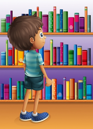 read book: Illustration of a boy searching a book in the library