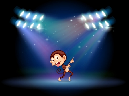 stageplay: Illustration of a playful monkey dancing in the middle of the stage Illustration