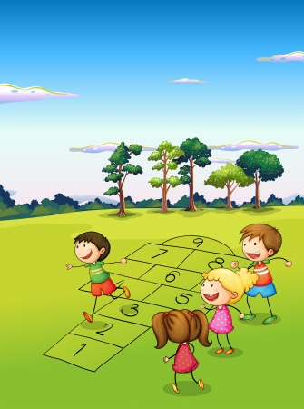 hopping: Illustration of the children playing in the field Illustration