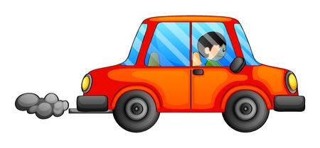 흰색 배경에 검은 연기를 방출 오렌지 자동차의 그림