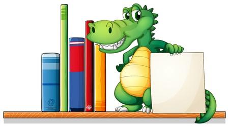 Ilustración de un cocodrilo sobre la plataforma que sostiene un letrero vacío sobre un fondo blanco