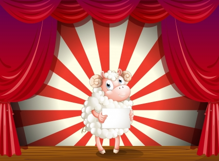 Illustration of a sheep at the stage holding an empty signage Vector