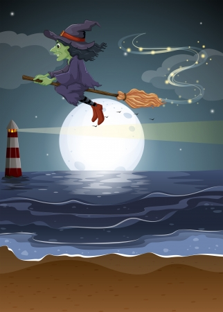 Illustration of a witch flying in the middle of the night Vector