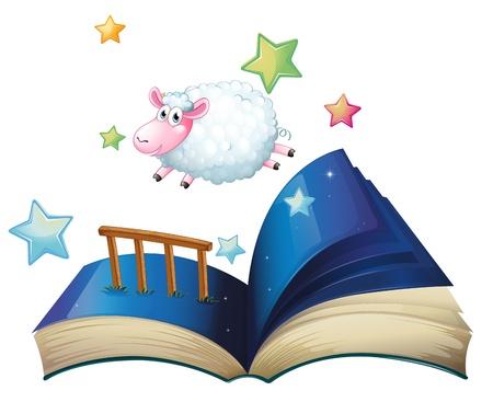 jumping fence: Ilustración de un libro con las ovejas que saltan sobre un fondo blanco Vectores