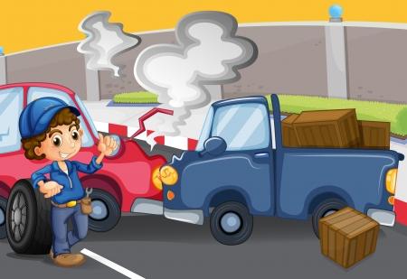 Illustration of a mechanic boy near the cars bumping Illustration