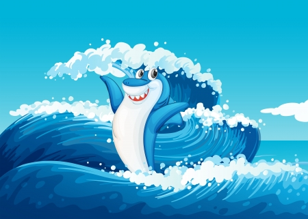 Illustration of a blue shark and the sea waves Vector