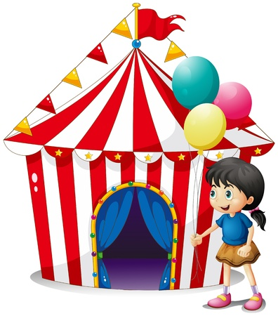 occassion: Illustration of a girl with balloons in front of the circus tent on a white background