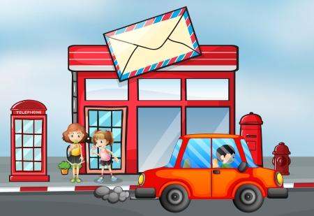 cartero: Ilustraci�n de un coche de color naranja en frente de la oficina de correos