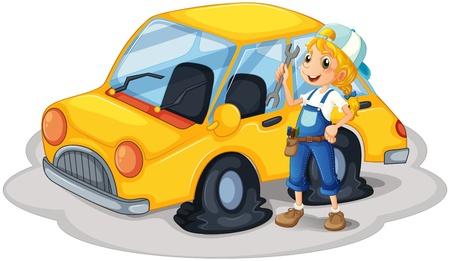 accident woman: Ilustraci�n de una ni�a que sostiene una herramienta al lado de un coche con los neum�ticos planos en un fondo blanco