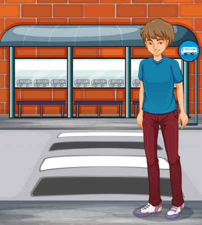 Illustration of a boy near the bus stop Vector
