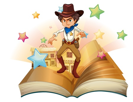 Illustration of a book with a cowboy and stars on a white background Vector