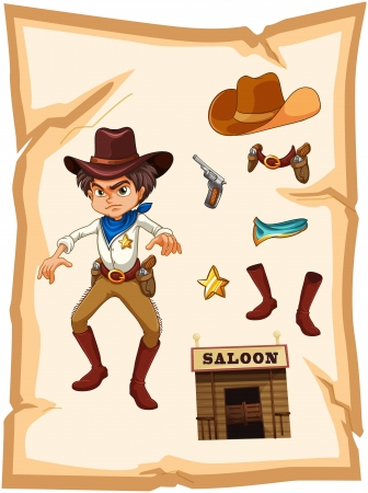 Illustration of a poster with an angry cowboy on a white background Vector