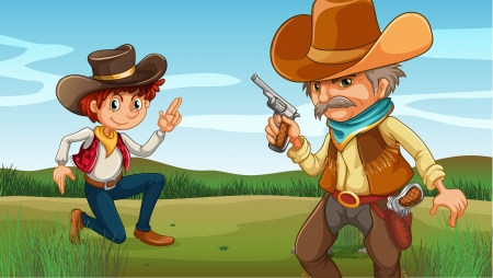 old cowboy: Illustration of a young and an old cowboy at the hill