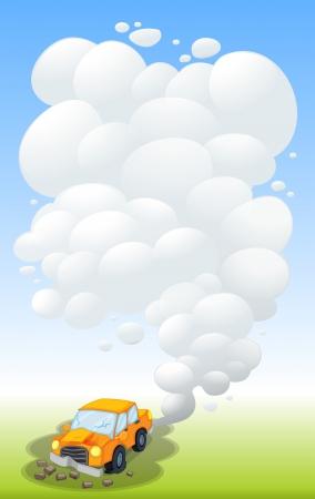 releasing: Illustration of a damaged car releasing smoke Illustration