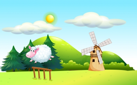 Illustration of a sheep jumping at the fence with a windmill at the back Vector