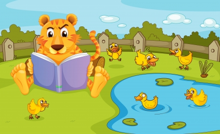 wild duck: Illustration of a tiger reading beside a pond with ducklings