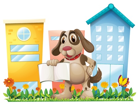 Illustration of a puppy holding an empty book near the high buildings on a white background Stock Vector - 20366709