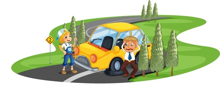 Illustration of a car accident at the road near the pine trees on a white background Vector