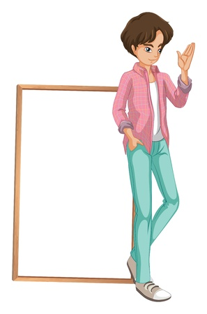handsome boys: Illustration of a young boy waving on a white background Illustration