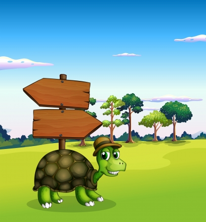 carapace: Illustration of a turtle near the empty wooden arrow signboards