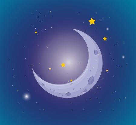 milkyway: Illustratie van de maan en de sterren aan de hemel