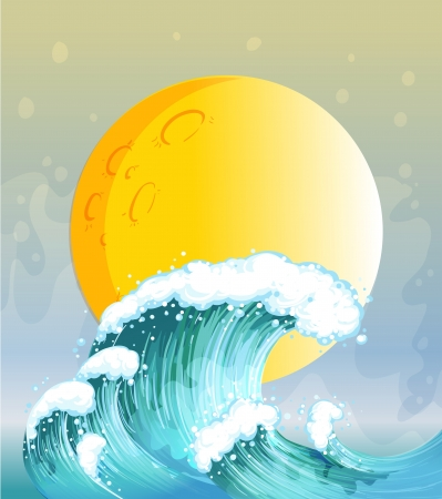 balls deep: Illustration of the big wave and the big sun