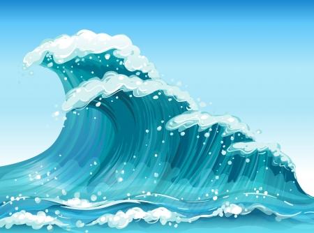 Ilustración de las grandes olas