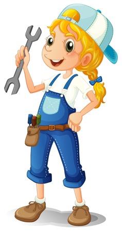 Illustration d'une jeune fille tenant un outil sur un fond blanc