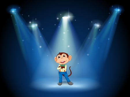 centerstage: Illustration of a stage with a monkey in the middle