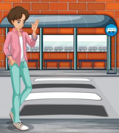 Illustratie van een jonge jongen in de buurt van de bushalte