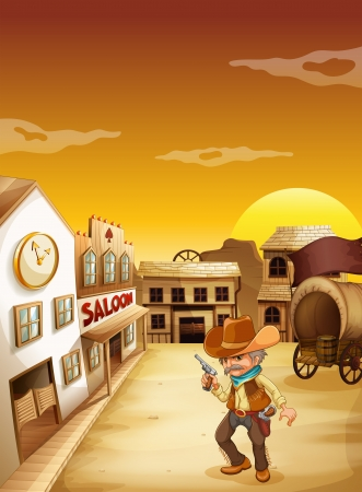 saloon: Illustration of an old cowboy holding a gun outside the saloon