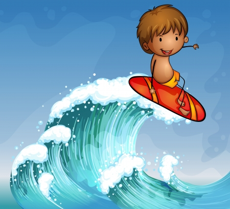 Illustration of a boy surfing in the waves Vector