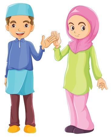 Illustratie van een mannelijke en een vrouwelijke moslim op een witte achtergrond