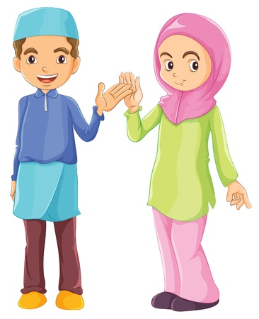 Illustration of a male and a female Muslim on a white background Vector