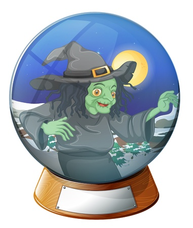 beliefs: Illustration of a witch inside the crystal ball on a white background Illustration