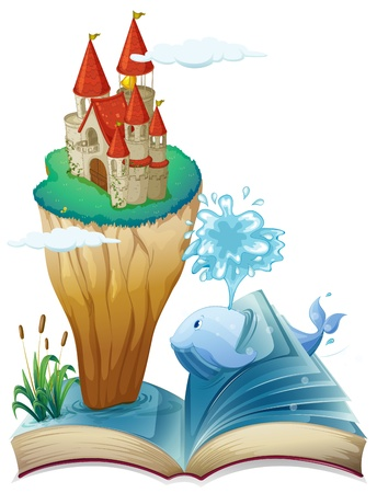 majesty: Illustration of a book with a dolphin and an island with a castle on a white background