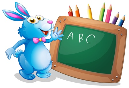 Illustration of a bunny in front of a chalkboard with pencils at the back on a white background  Vector