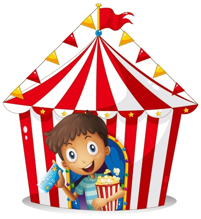 Illustration of a young boy with a ticket and a popcorn near the tent on a white background Vector