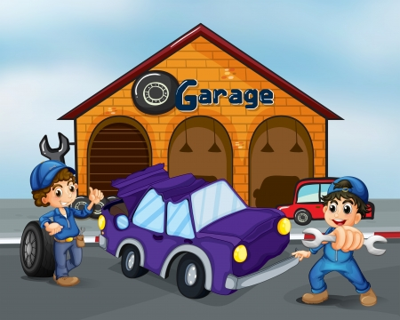 Illustration of the two boys repairing the violet car Vector